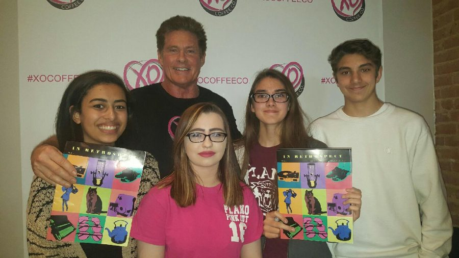Newspaper staff met David Hasselhoff at the OX coffee shop in downtown plano (photo by Sam Thomas)