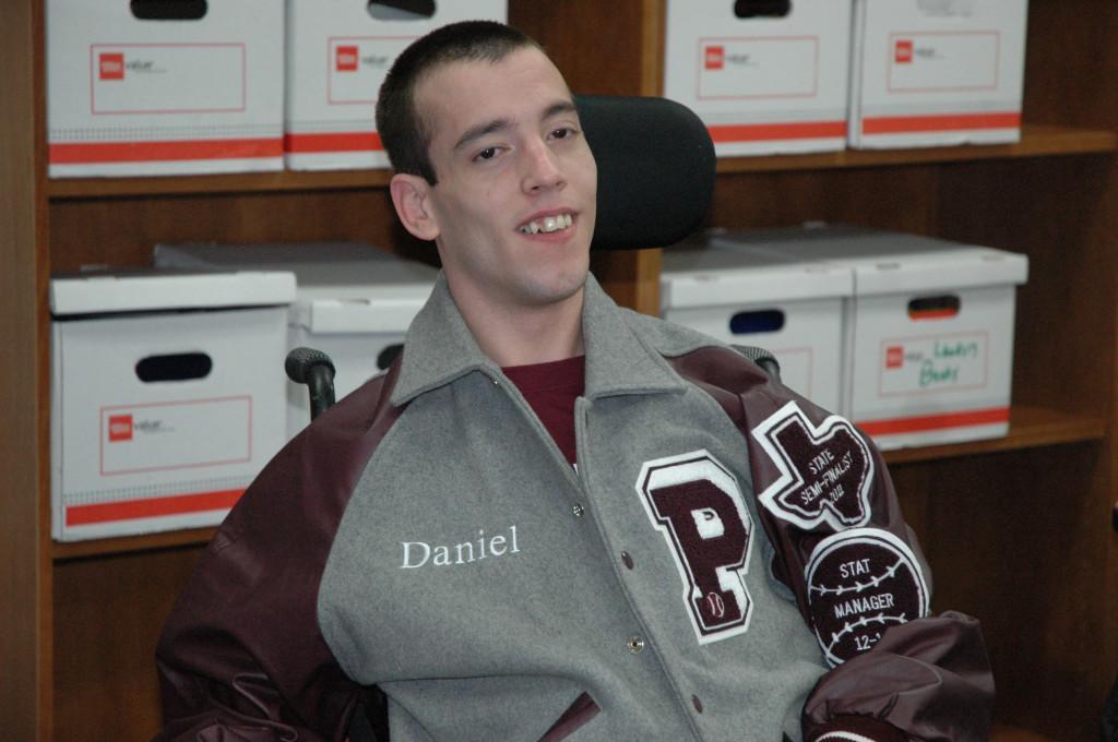 Senior Daniel Walls recieves letterman from softball