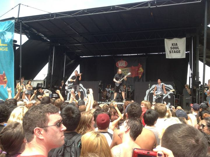 Yellowcard playing on the Kia Soul Stage at Vans Warped Tour.