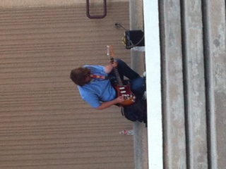 Senior Joshua Fox plays his guitar every morning at school.