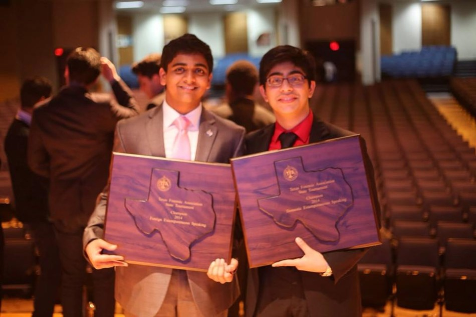 Ash and Abhinav take a photo after the TFA state tournament awards ceremony.
