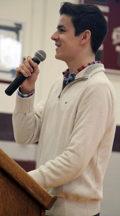 Junior Class President Ryan Dusek delivers his speech to his classmates on Sep. 4. Photo by Taylor Norris.