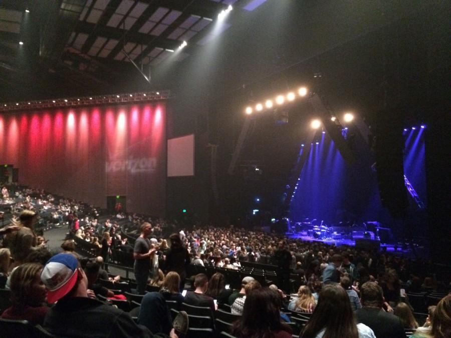 A view of the stage at Bastilles concert at Verizon Theater on Nov. 8. Photo by Ashley Stuber.