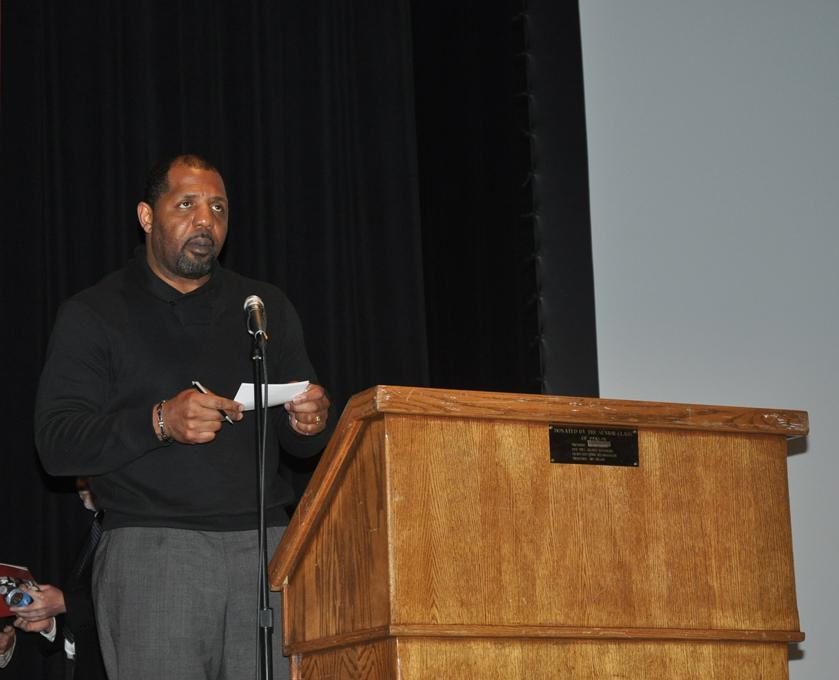 A speaker rises to the podium during the district's first ever law symposium Dec. 1.