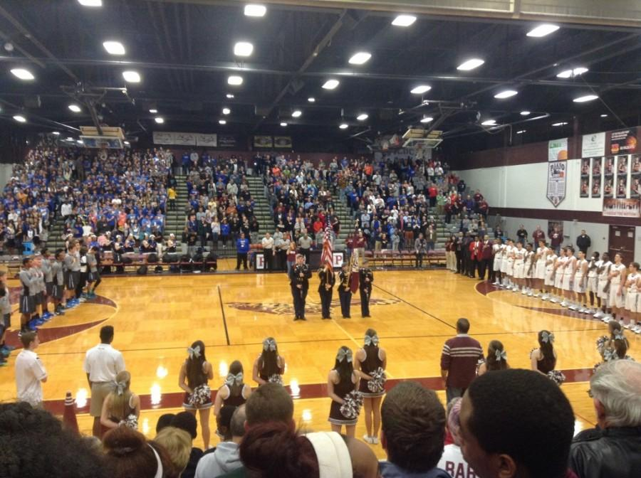 The packed scene in the Plano gym before the tipoff of the rivalry game between Plano and Plano West on Dec. 19.