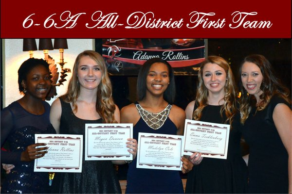 Volleyball players named to the all-district first team celebrated their accomplishments at their banquet last month. Photo from Plano Senior High Volleyball.
