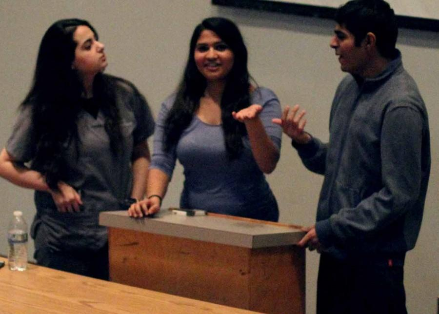 Asad Mustafa, Shanze Noorchi, Zheen Nerway, and Kinza Sohail present their Hosa presentation to mock judges. It is necessary for us to do the showcase so that we can get feedback and have opinions from our peers, Sohail said. Photo by Stephanee Smith.
