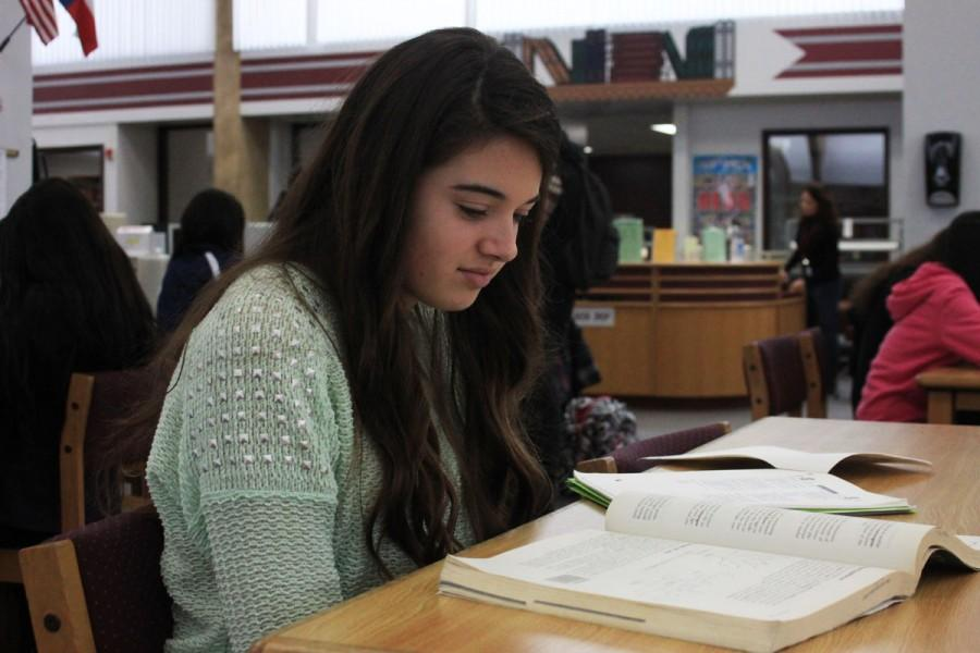 Junior Madison English reviews the materials she uses to study for the SAT.