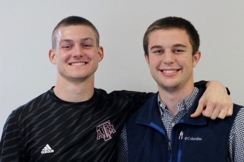 """Seniors Matthew Kirchner and Brooks Panhans pose for a picture. """"If you were nominated they felt that you had high character and you were performing well in the classroom,"""" said Kirchner."""