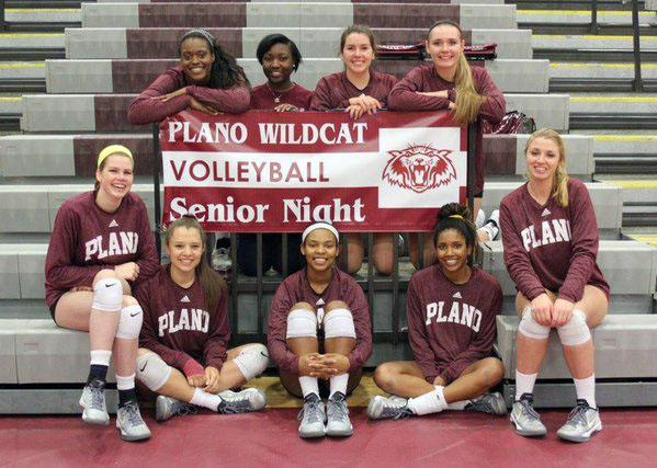 Wildcat seniors pose around the Senior Night banner. First Row: Shalom Ifeanyichukwu, KK Magee (manager), Maggie Cross, Megan Duncan. Second Row: Madeline Johnson, Maggie Sagers, Madelyn Cole, Gabby Howard, Emma Tecklenburg. (Photo by Plano Volleyball)