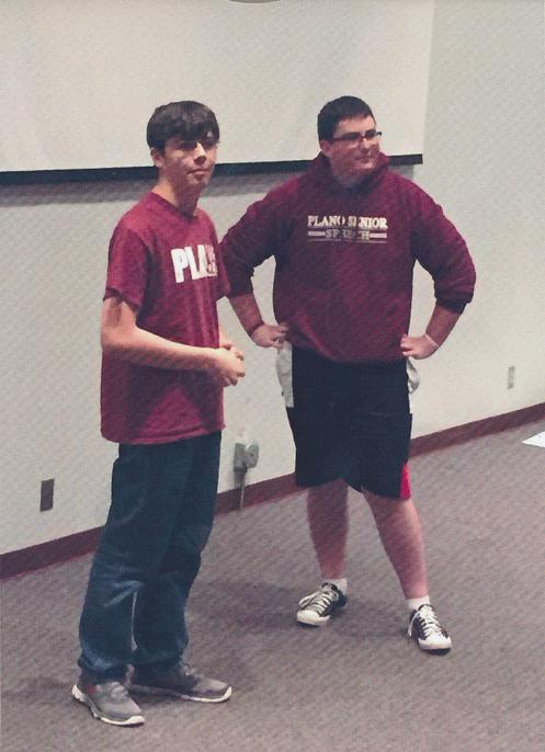 Junior Collin Marshall and Senior Dylan Nelson perform at the WHAT Improv Show .