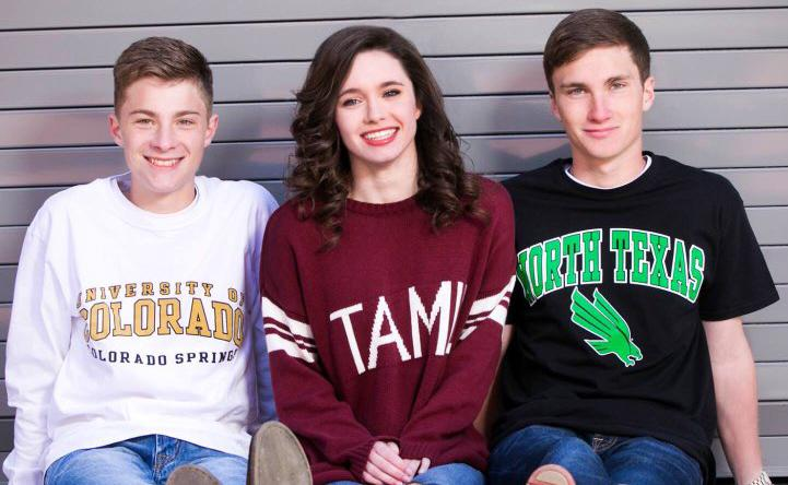 From left to right: Caleb Lindsey   (University of Colorado at Colorado Springs), Brooke Lindsey (Texas A&M University), and Jared Lindsey (University of North Texas)