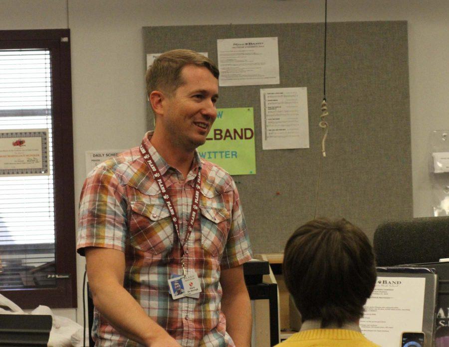 Mark Dehertogh teaches during sixth period band. (Photo by Shida Khorrami)