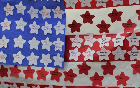 Named Veterans on the flag in honor of their service (Photo by Libby Cooper)