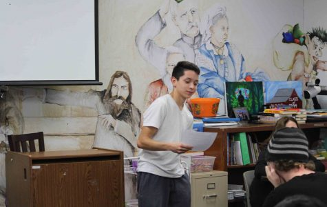 Senior Jacob Castro practices his speech during class. (Photo by Abigail Thomas)