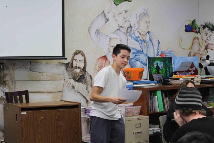 Senior Jacob Castro practices his speech during class. (Photo by Abigail Thomas)