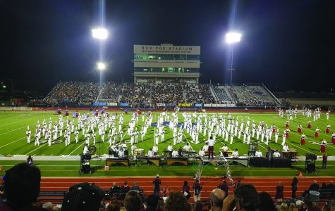 Plano Band performs during a football game at Ron Poe Stadium during halftime. (Photo by Abigail Thomas)