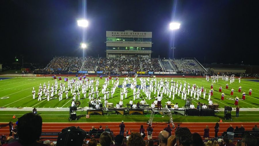 Plano+Band+performs+during+a+football+game+at+Ron+Poe+Stadium+during+halftime.+%28Photo+by+Abigail+Thomas%29
