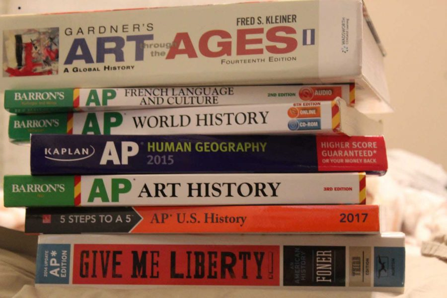A stack of AP books (photo by Lauren Girgis)