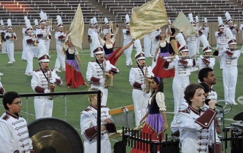 Band students perform their show Vagabond at the area competition on Saturday morning, Oct. 29 for the last time.  After performing at area, the band went on to perform the Plano Tribute show at their last football game. (Photo courtesy of Charlotte Terry)
