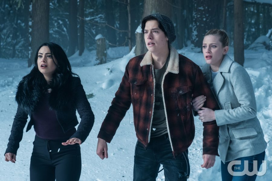Camila Mendes (Veronica Lodge), Cole Sprouse (Jughead Jones) and Lili Reinhart (Betty Cooper) in the season one finale that leads up to season 2.