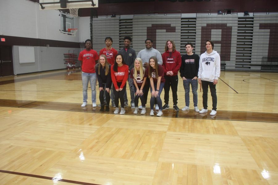 Seniors on signing day (top left to right) Dante Nicholson, Kaleb Macaway, Kentavious Bradley, Akanimoh Inyang, Timothy Langford, Dylan Peyton, Jarred Defrain, (bottom left to right) Megan Daleo, Allison Chang, and Maddie Weimer.