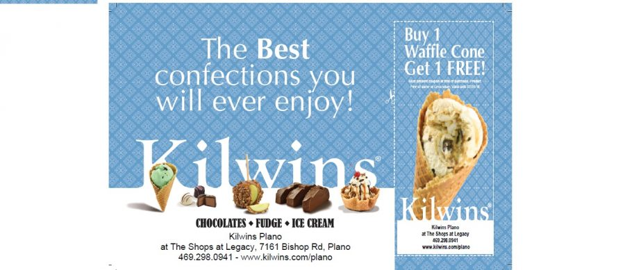 Enjoy desserts like ice cream, chocolates, and candied apples at Kilwins located at The Shops at Legacy, 7161 Bishop Rd, Plano TX