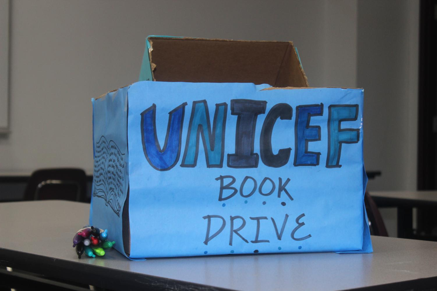 Handmade donation box for Plano Unicef book drive