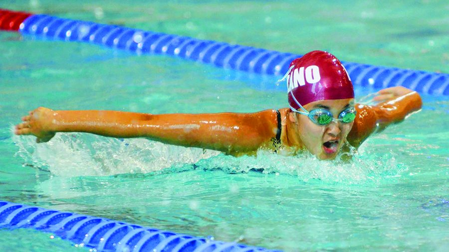 Junior Risa Nishozaki pushing towards finish in physically demanding butterfly stroke
