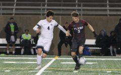 Soccer kicking towards goals