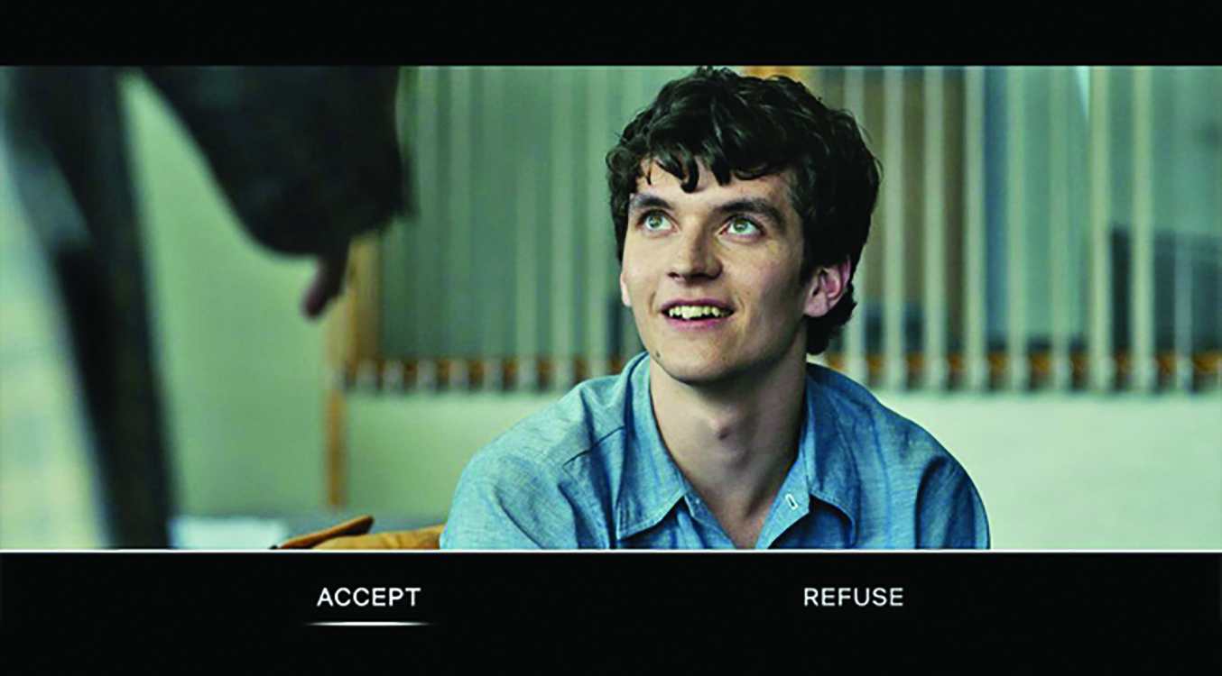 Scene in Black Mirror: Bandersnatch depicting an important choice through the plot