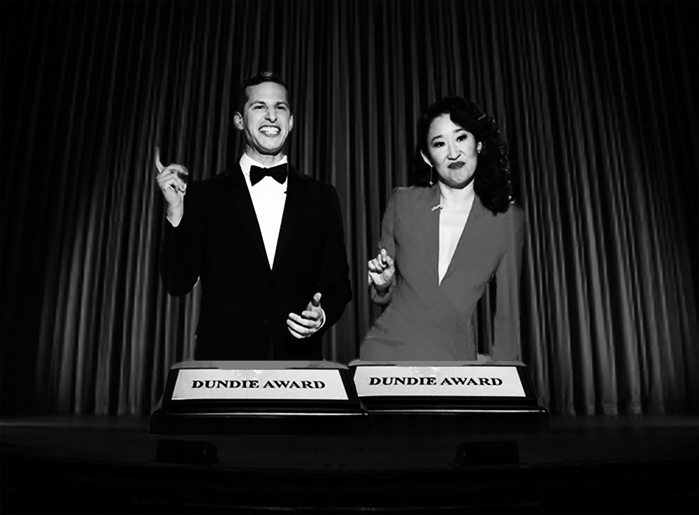 Golden Globes co-hosts, Sandra Oh and Andy Samberg, preach the need for more diversity in gender and race in the film industry. (photos used with permission from Golden Globes)