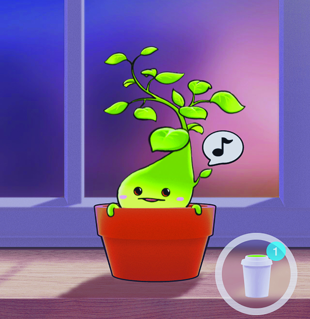 Little sprout from Plant Nanny app exhibits calming gradients as well as a cute little smile.