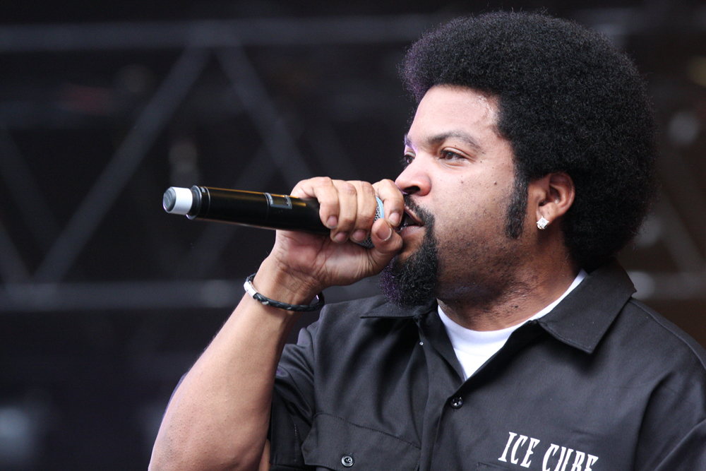 Ice Cube on stage at Supafest music concert performing live. (photo courtesy by Wikimedia Commons)