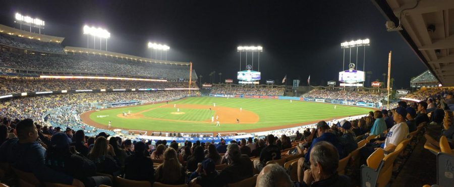 Photo of Dodger Stadium in a game against the Colorado Rockies.
