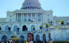 Isis Kazadi lobbying on Capitol Hill accompanied by Texas residents.