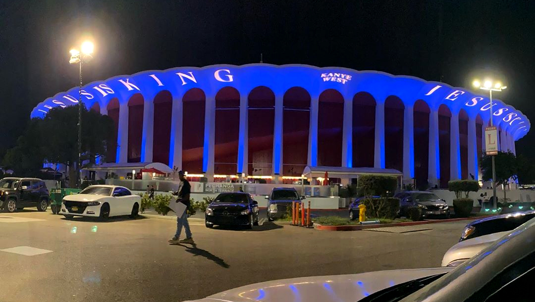 The new album is played at The Forum in Los Angeles for one of the first times.