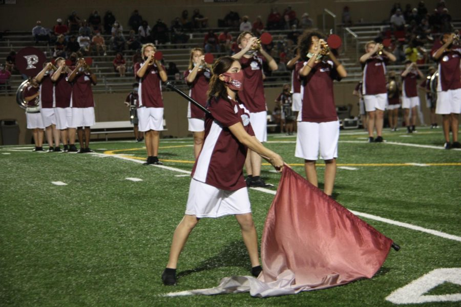 Colorguard performing at last Homecoming game