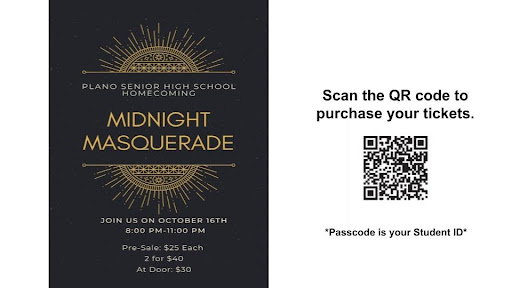 Homecoming flyer and QR code to purchase tickets